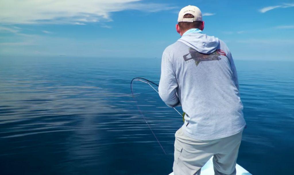 """Dieser Tarpon verlangt Mark und der Helios 3 alles ab. Zu sehen im ORVIS Film Tipp: """"Bonefish, Permit and Tarpon in Belize with Tom Rosenbauer""""."""