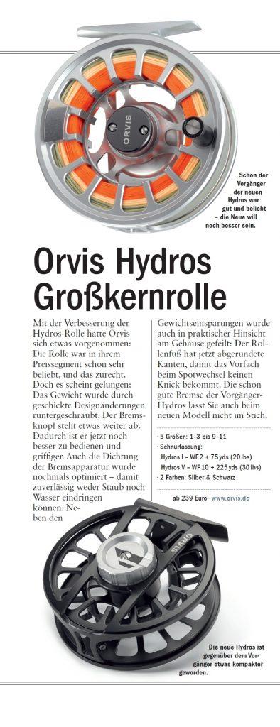 Orvis-Hydros-Fliegenrolle in der ZeitschriftFliegenFischen